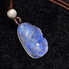 טבעי למעלה איכות כחול אור מונסטון אבן חן נשים תליון 25x15x7mm פרח מגולף מלבן קריסטל ריפוי AAAAA