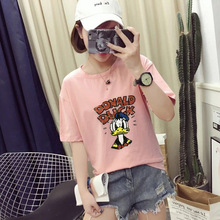цены на Cute Cartoon  Duck Print T shirt Women High Quality Short Sleeve O Neck Cotton Spande Women Tops Tees Casual Loose T-shirts  в интернет-магазинах