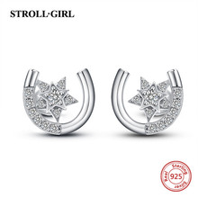 Strollgirl New Trendy 100% 925 Sterling silver Horseshoe U shape Star earrings Stud with Clear CZ For Women 2019 Fashion Jewelry