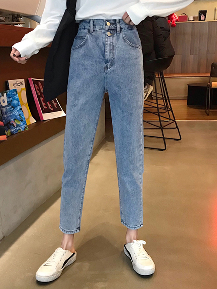 Online Celebrity Jeans Women's Loose-Fit Spring Clothing WOMEN'S Dress 2019 New Style Korean-style Students High-waisted Slimmin