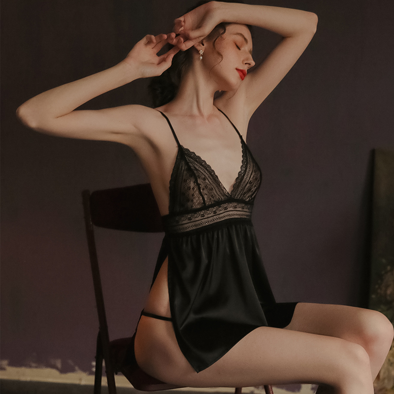 Chemise De Nuit Nightgown Women Sleepwear <font><b>Sexy</b></font> <font><b>Lingerie</b></font> <font><b>Baby</b></font> <font><b>doll</b></font> Backless Night Wear Gecelikler <font><b>Vestidos</b></font> <font><b>Mujer</b></font> Nighty JF042 image