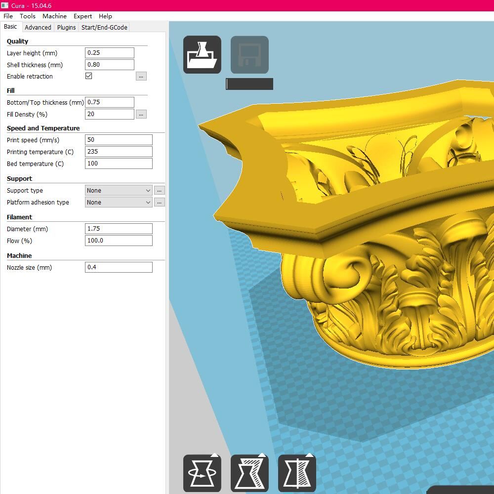 Cura STL mode conversion to G code tool, 3D printing software, STL mode to G_code tool image