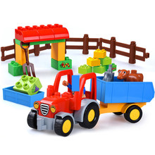 Happy Farm גדול אבני בניין סטי חברים דמויות בעלי החיים DIY Baseplate Brinquedos Duplo לבני צעצועים חינוכיים לילדים