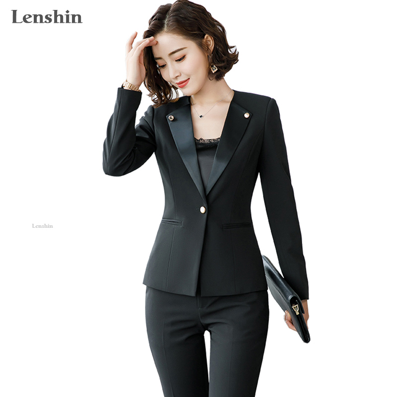 Lenshin New Fashion Women Pant Suits Set Business Formal Long Sleeve Patchwork Blazer And Pant Office Ladies Brown Work Uniforms