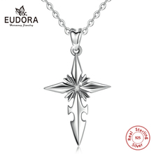 EUDORA Real 925 Sterling Silver Cross Pendant Necklace Oxide Silver Pendant Fashion Jewelry For Man Women Memorial day gift D430