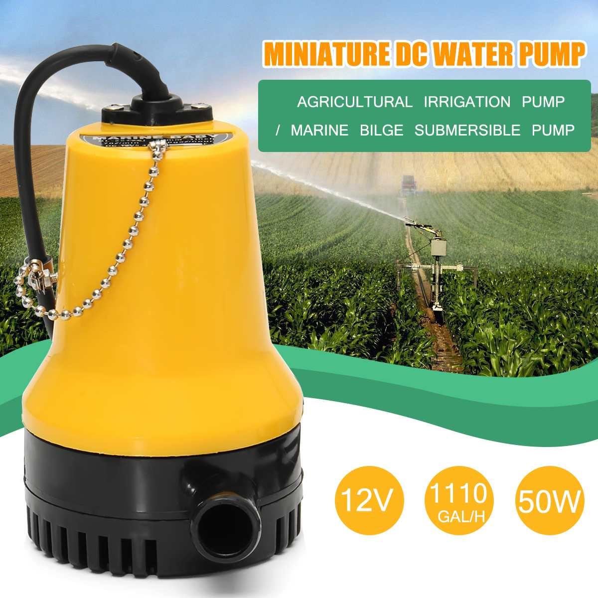 50W 4600rpm 4M DC <font><b>12V</b></font> 1110GPH Electric <font><b>Water</b></font> <font><b>Pump</b></font> Motor <font><b>Water</b></font> Circulation <font><b>Submersible</b></font> <font><b>Pump</b></font> Irrigation Fountain Fish Pond Flood image
