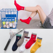 Women' Socks Fashion New Style Breathable Cotton Ladies Tube Striped Socks Letter M Female Sports Socks Wholesale(China)