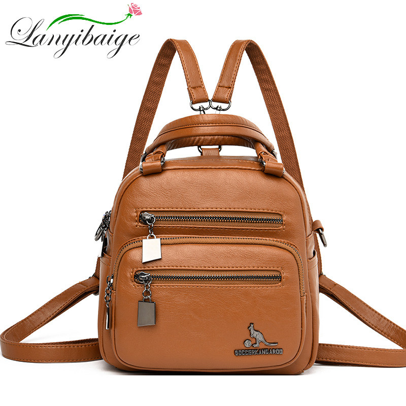 Small Multifunctional Women Leather Backpack Mochila Feminina School Bag For Girls Travel Backpack Lady Rucksacks Shoulder Bags