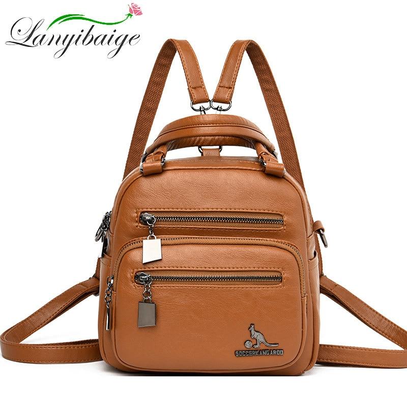 Где купить Маленький Многофункциональный женский кожаный рюкзак mochila feminina, школьная сумка для девочек, рюкзак для путешествий, женские рюкзаки, сумки на плечо