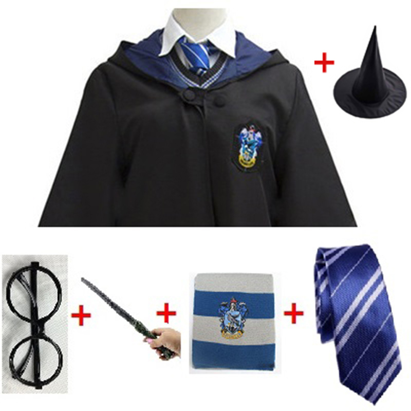 Ravenclaw Cosplay Potter Costumes Magic Cloak Cape Hufflepuff Gryffindor Slytherin Halloween Potter Cosplay Clothes Kids Adult