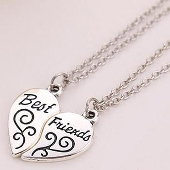 2Pcs Women's Girl's Heart Partners Letters Best Friends Sisters Gift Chain Necklace 2020 image