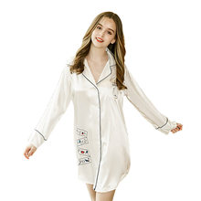Summer Faux Silk Robe Women's Pajamas sexy Skirt Nightdress Satin Sleepwear Nightgowns Nightwear Home Dress Dressing Gown(China)
