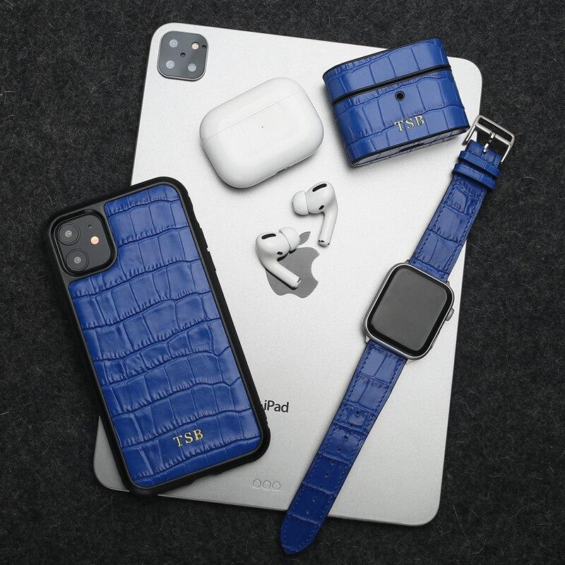 Horologii Monogramm Blau Croco Muster Fall Abdeckung für Iphone 7 8 10 X XS XR 11 12 Pro Max Mini handy Stoßstange Dropship