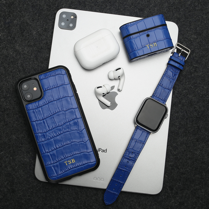 Horologii Monogram Blue Croco Pattern Case For Iphone 11 Pro Case And For Airpods Case And For Apple Watch Band 3 Pcs Gift Set Fitted Cases Aliexpress
