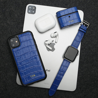 Horologii monogram blue croco pattern case for iphone 11 Pro case and for AirPods case and for Apple Watch band 3 pcs gift set
