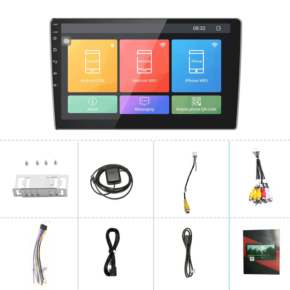 """Image 5 - Podofo 2din car radio 10.1""""inch Android8.0 system Auto stereo 2.5D Screen Bluetooth WIFI GPS Quad Core 1+16grom For Universal-in Car Multimedia Player from Automobiles & Motorcycles"""