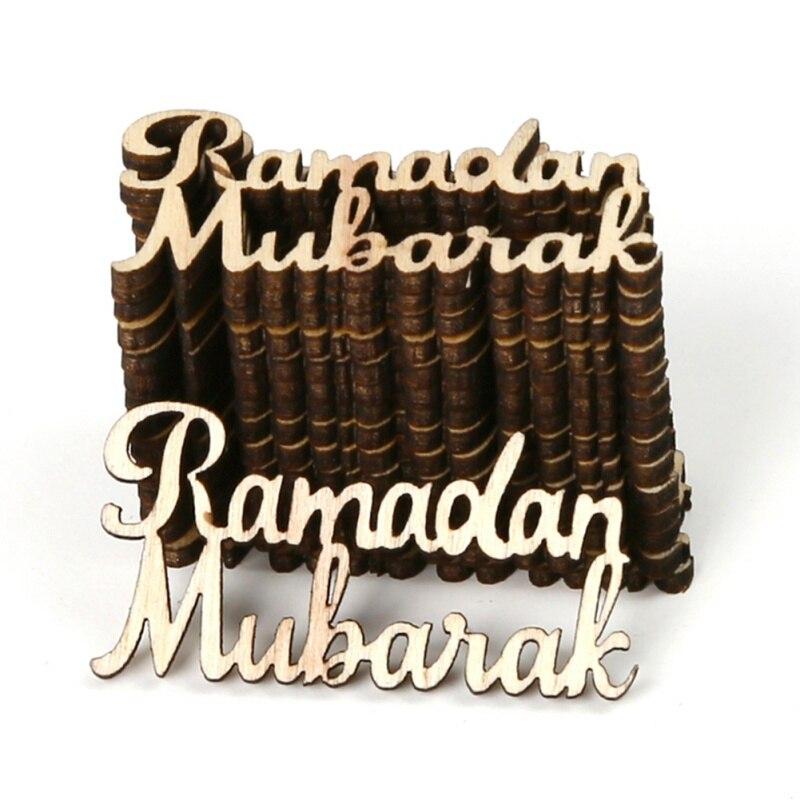 Wooden EID Mubarak Pendant Food Plate Ramadan Decoration DIY EID Decoration For Home EID Gift Party Decor Supplies 1