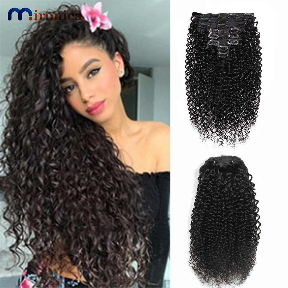 100%Human-Hair-Extensions Kinky-Curly-Clip Brazilian-Hair Clip-In Full-Head Natural Remy