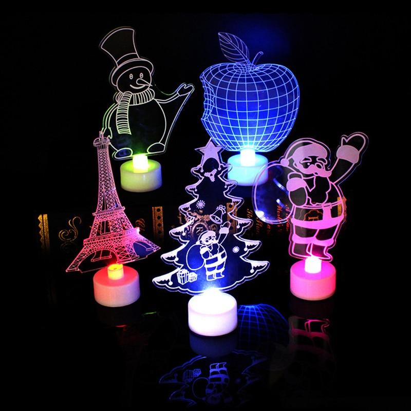 Christmas Tree Santa Claus Snowman LED Electronic Candles LED Night Light Home Decor Lamp Festive Xmas Gift Christmas Decoration