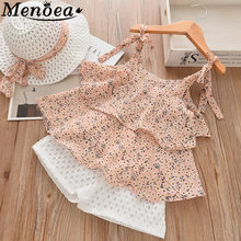 Menoea Children Summer Suits 2019 Kids Sleeveless Bow Floral Pattern Girls Clothes Sets Short Pants With Hat 3pcs Clothing Sets(China)
