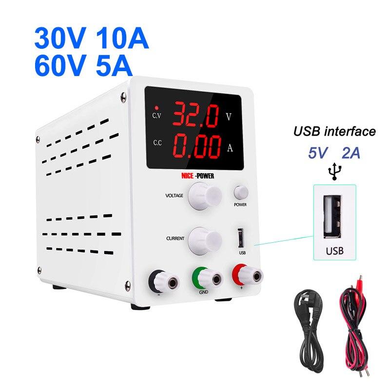 Nouveau laboratoire numérique banc régulé commutation DC USB alimentation 30V 10A 60V 5A réglable laboratoire Source d'alimentation régulateur 30V