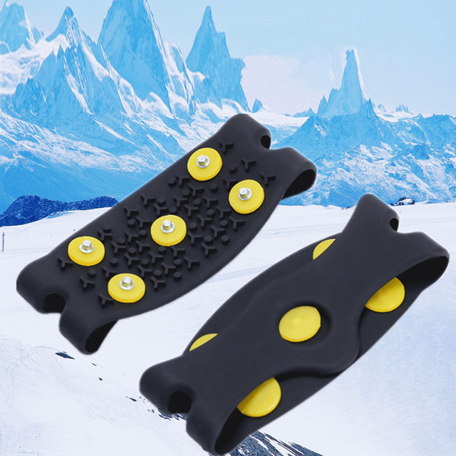 1 pair 5 Stud Snow Ice claw Climbing Anti Slip Spikes Grips Crampon Cleats Shoes Cover for women men Boots Cover size 35 43