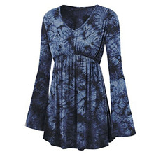 Shirts Tie-Dye-Print Clothing Blouse Tops Flare-Sleeve Pleated Leisure Plus-Size Women