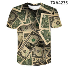 Summer 2020 New 3D Printed Dollar Spoof Hip-Hop Street Plus Size Short-sleeved Top