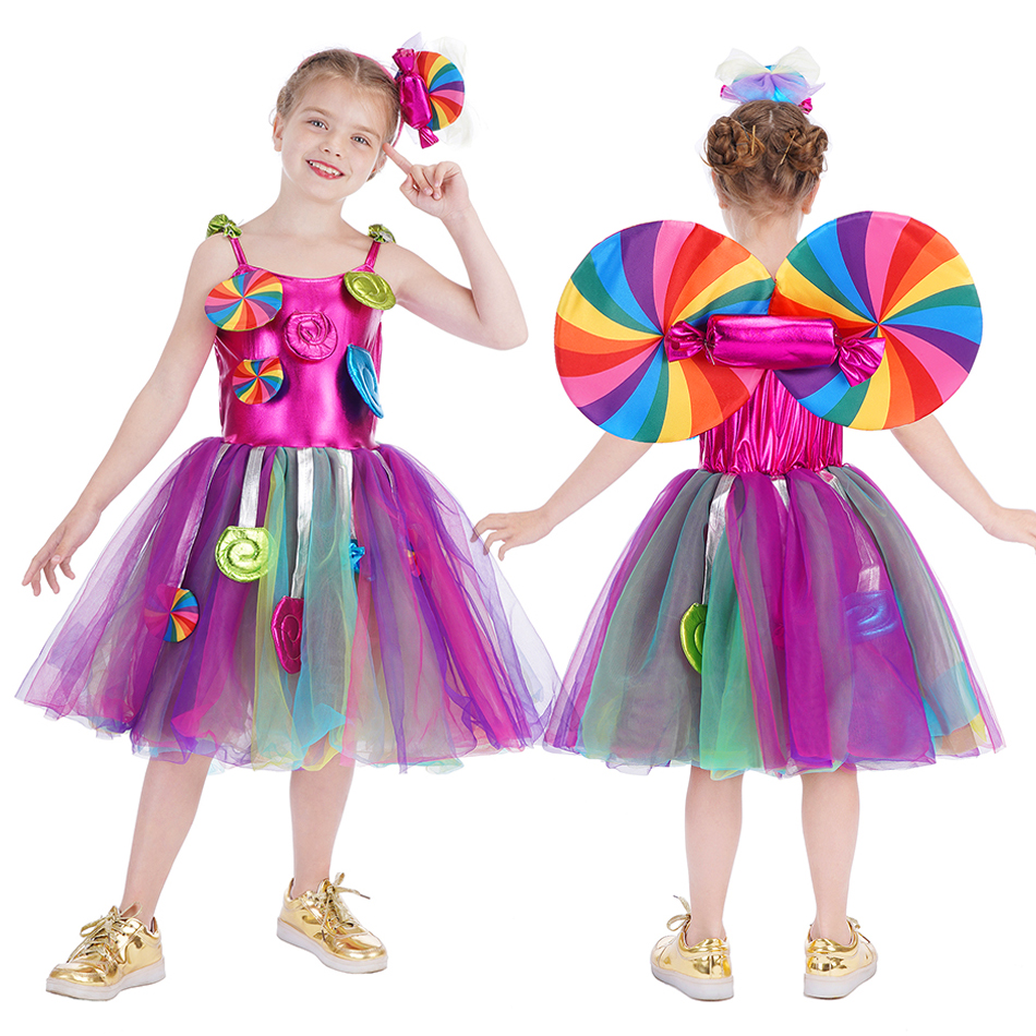 Sweet Candy Girl Clothes Summer Kids Carnival Frock Little Girl Birthday Fancy Rainbow Tutu Dress with Hairband Child Party Gown