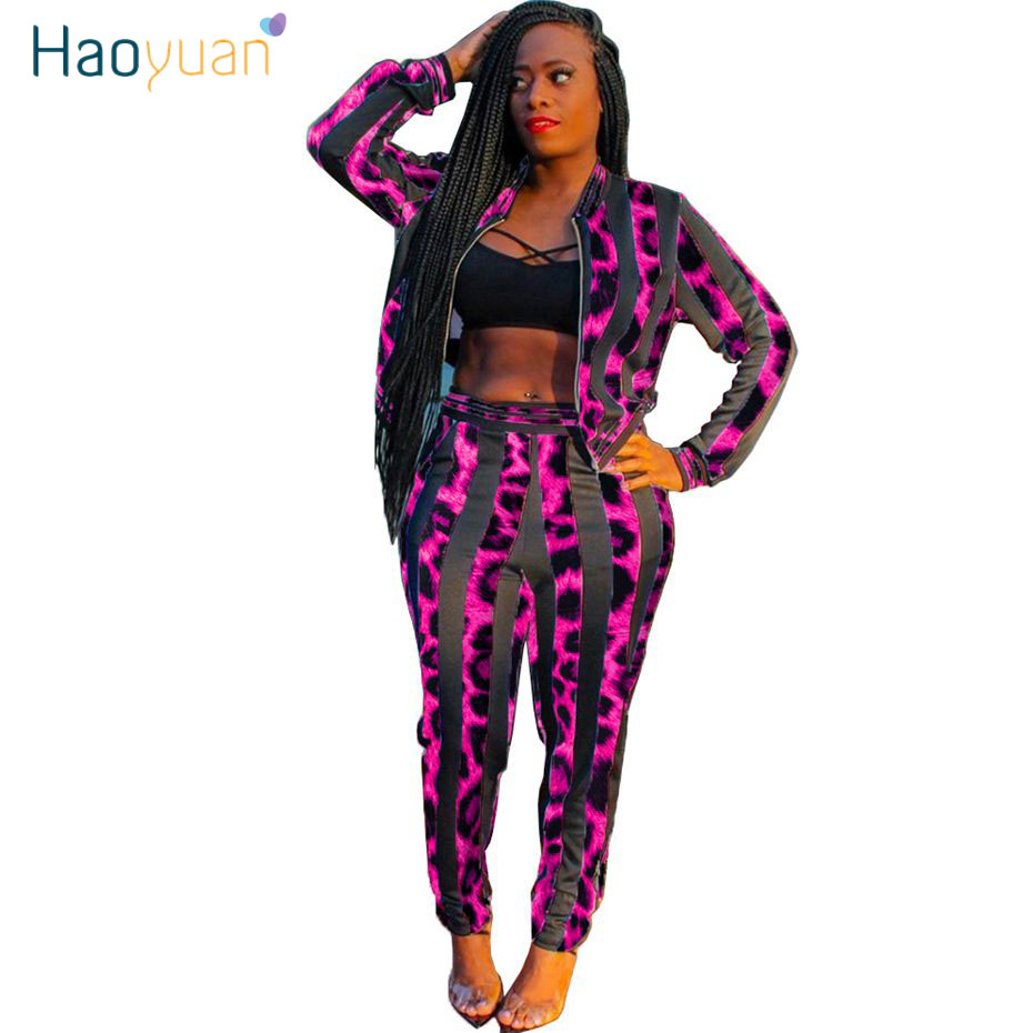 HAOYUAN Striped Leopard Two Piece Set Tracksuit Women Fall Jacket Top Pant Sweatsuit 2 Piece Winter Outfits Matching Sets