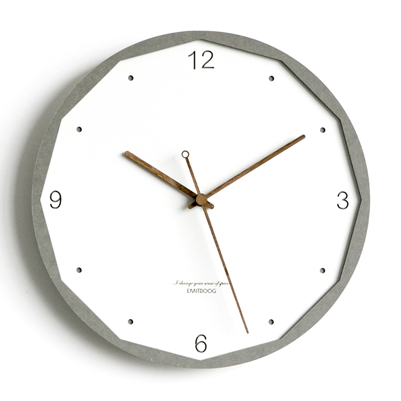 Nordic Wall Clock Wooden White Luxury