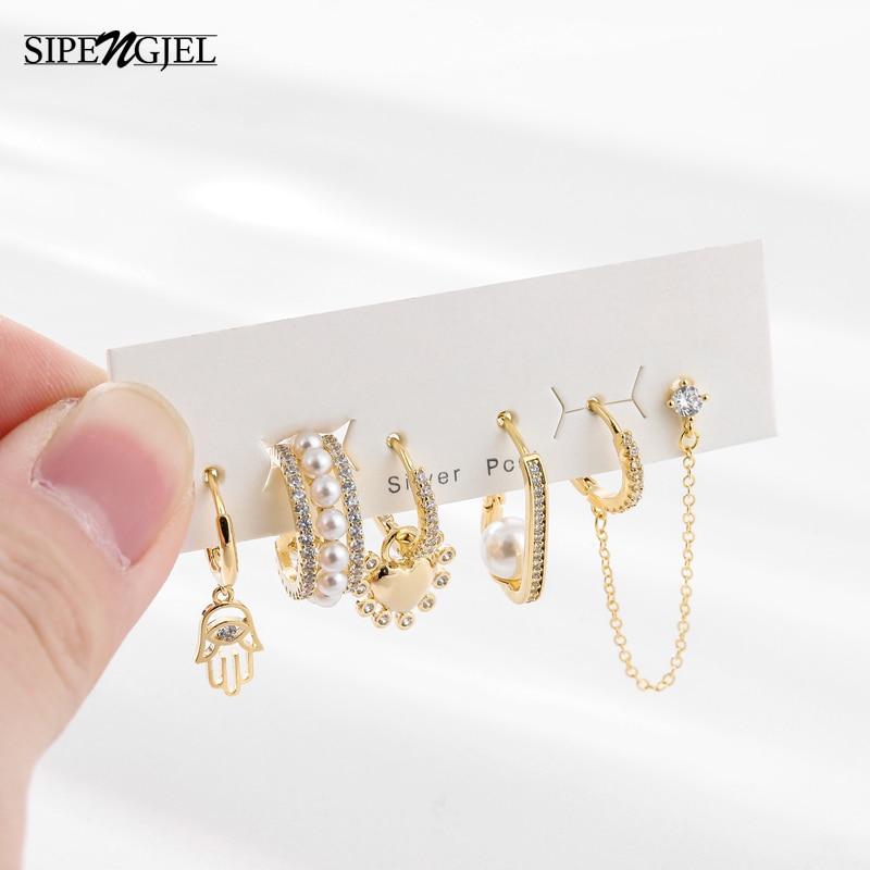 SIPENGJEL fashion 6 pcs Pearl Hoop earrings Set mirco cz crystal earings for women Korea Style Fashion Jewelry Wholesale
