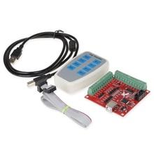 TOP Cnc Usb 4 osi Mach3 100 Khz Usb karta sterowania ruchem tabliczka zaciskowa 12 24V z Jog Handler do grawerowania Cnc Free Drive
