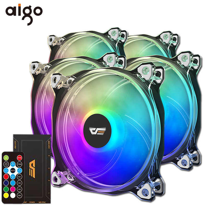 Aigo CF8Pro Computer PC Case RGB Fan Clear Frame 120mm Fans Rustig + Remote Computer Cooling ASUS AURA SYNC CPU Koeler RGB Case Fan