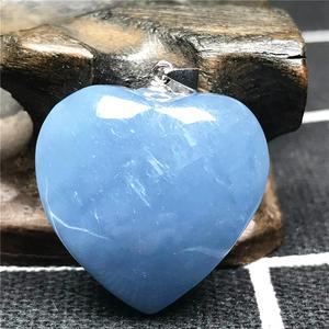Image 5 - Natürliche Blaue Aquamarin Anhänger Für Frauen Mann Kristall 925 Silber 23x10mm Herz Form Perlen Stein Halskette Anhänger schmuck AAAAA