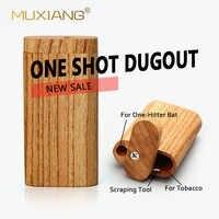 Pipa de madera MUXIANG Dugout One Hitter, caja de almacenamiento de madera para fumar, accesorios de Pipa de mano, wmmh0008-10 de tubo de Metal para cigarrillos
