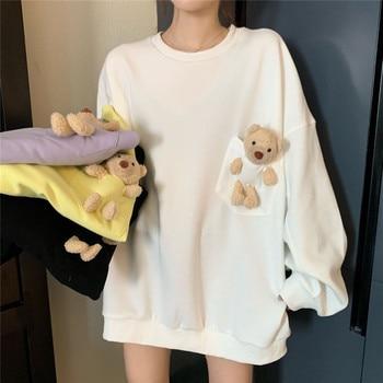 itself sweatshirt women bear design sense oversize sweatshirt women loose lazy round neck long sleeve top trendy round neck drop shoulder deer pattern women s sweatshirt
