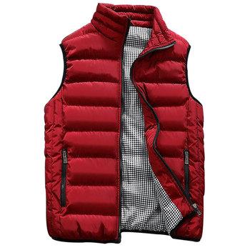 Grube kamizelki mężczyźni bez rękawów płaszcze bez rękawów kurtka dla mężczyzn moda ciepłe męskie kamizelki zimowe męskie kamizelki robocze kamizelka 7906 tanie i dobre opinie WELLSOME COTTON zipper Vest waistcoat for men vest men s vest mens sleeveless jacket warm winter NONE Poliester Stałe REGULAR