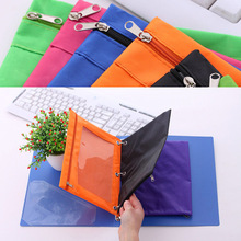 1 Pc Zippered Binder Pencil Bag Pouch with Ring Rivet 3 Holes School Office Supplies File Holder Storage Bag Filing Products B5