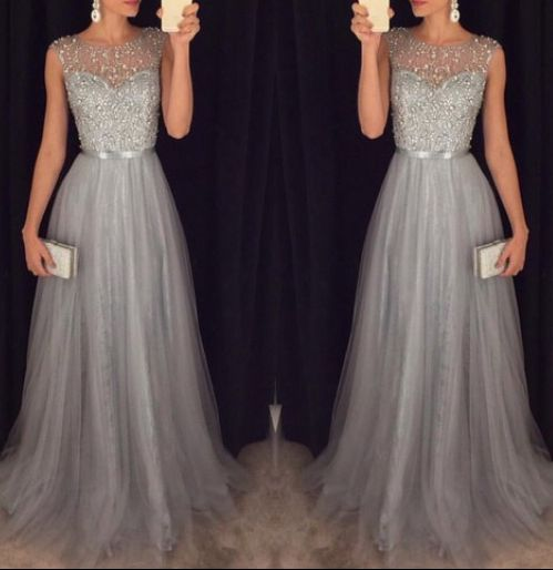 Formal Prom Dress 2019 A-line Cap Sleeves Tulle Beaded Long Prom Gown Evening Dresses Robe De Soiree