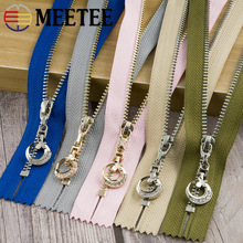 Meetee 3pcs 11-25cm 3# Metal Zipper Closed End Gold Silver Tooth Moon Pull Head Zip Lock DIY Bag Clothing Sewing Accessory ZA005