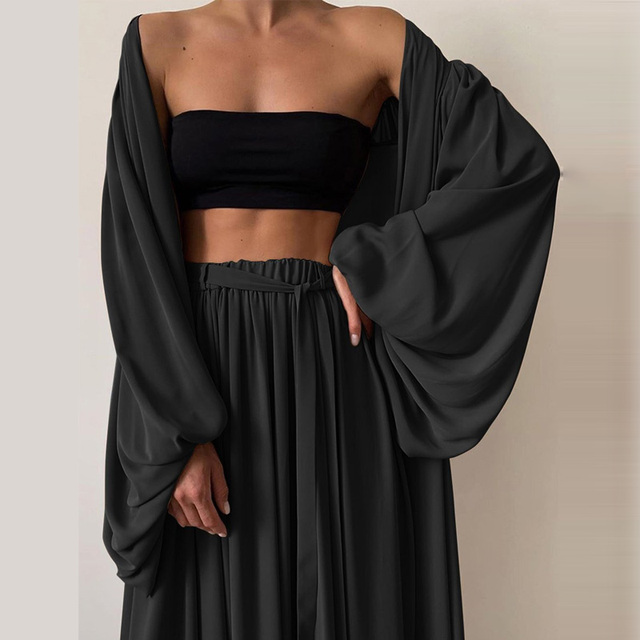 Soft Women Three Piece Set  Wrap Cardigan Top And High Waist Pants  Casual Simple  2