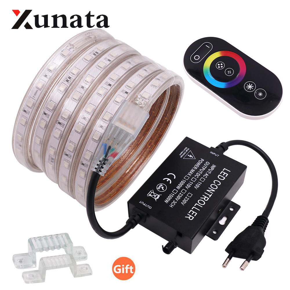 5050 RGB LED Strip 60LEDs/m Waterproof Flexible RGB LED Light Outdoor String Lamp With Touch Or 24 Key Controller 220V EU
