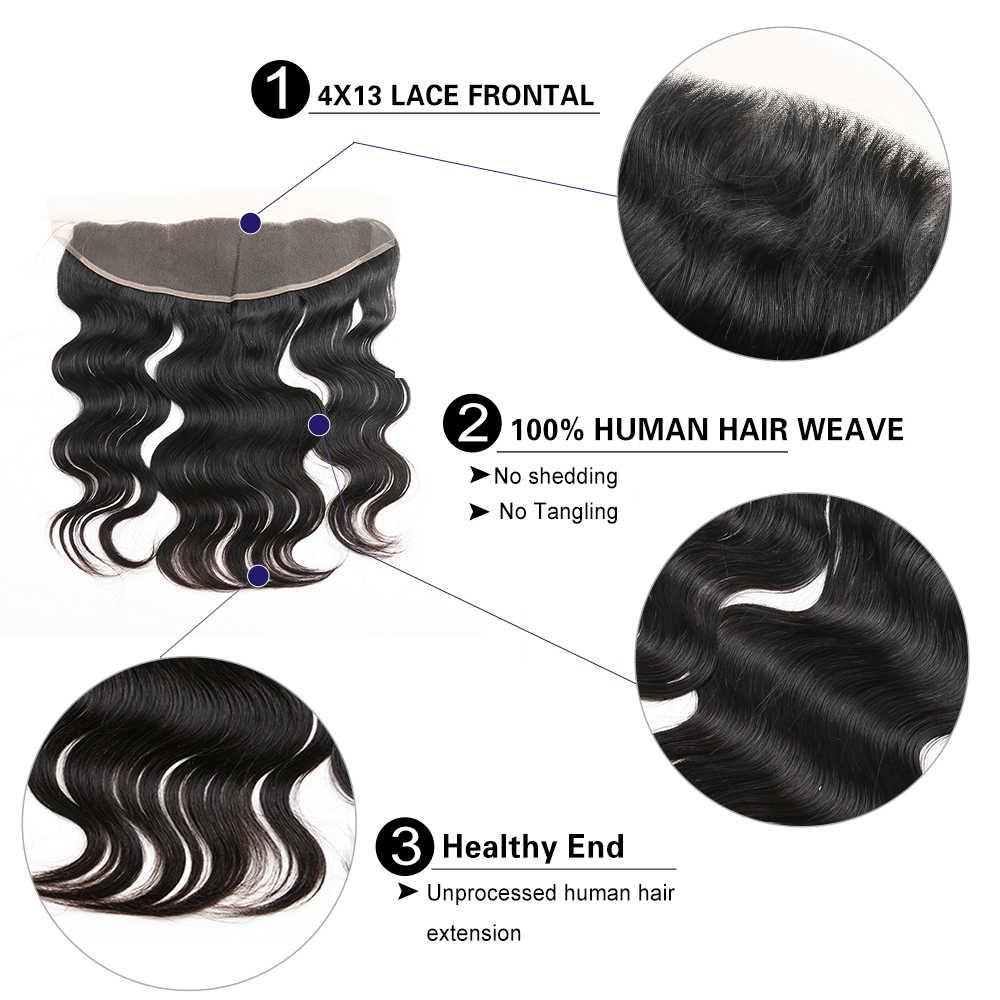 Ali Zucker Haar Körper Welle Rohen Reines Haar 13*4 Spitze Frontal 100% Menschliches Haar Natürliche Farbe Freies Verschiffen