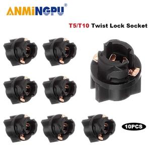 ANMINGPU 10X Signal Lamp T5 Led Twist Socket PC74 Led T10 W5W 174 PC194 Instrument Panel Cluster Replacement Socket Lamp Holder