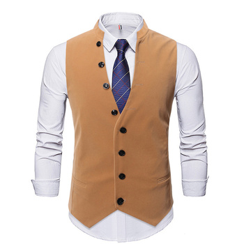 Brand Corduroy Suit Vest 2019 Fashion Button Decorate Formal Waistcoat Wedding Dress Gilet Business Single Breasted Chaleco