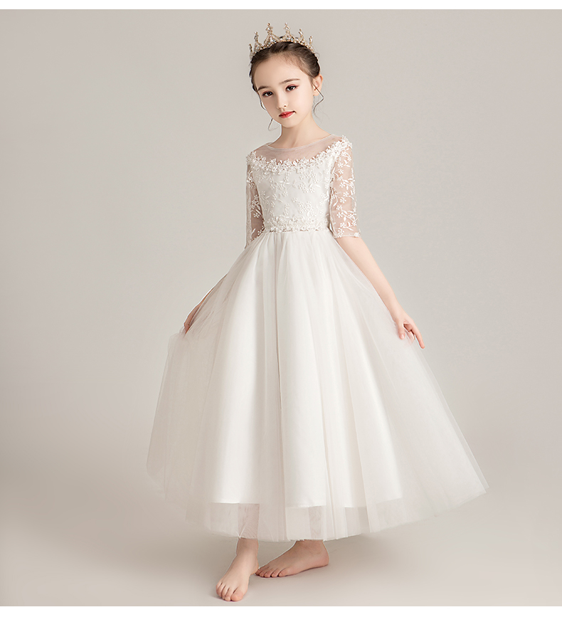 New Arrival White Beads Flower Girl Dresses 2019 Long Lace  Zipper A Line Wedding Party Event Girl Prom Dresses