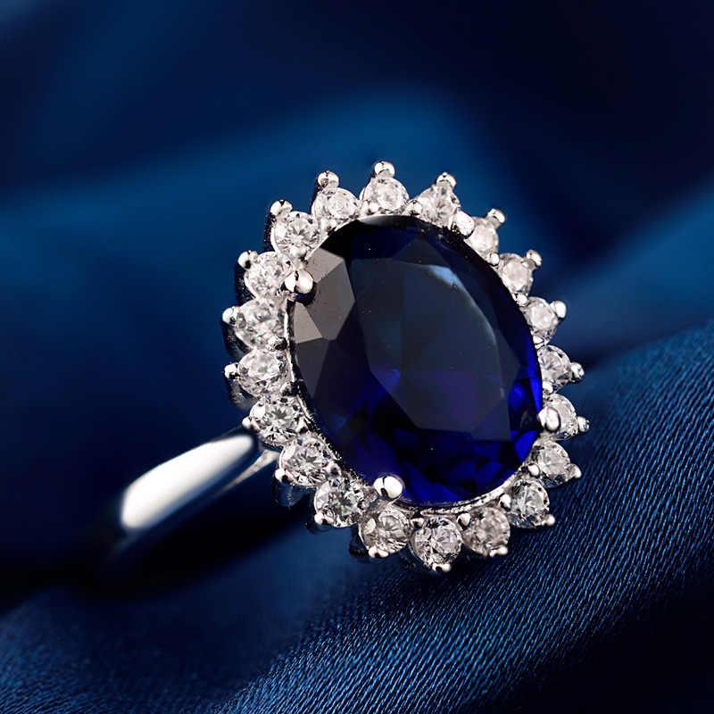 Ataullah Princess Diana William Kate Blue Sapphire แหวนเงิน 925 แหวนพลอยหมั้นเครื่องประดับสำหรับผู้หญิง RW089