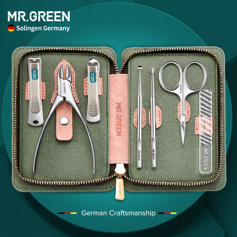 MR.GREEN 7Pcs Nail Set Scissors Manicure Set Pedicure kit Stainless Steel Nail Clippers Tool Travel Grooming Case Gift for Lady