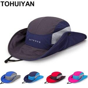 Tohuiyan dobrável balde chapéu para homem verão malha bob praia chapéu de sol esporte ao ar livre pescador chapéu de rua moda panamá feminino chapéus